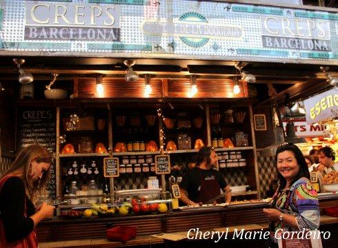 Creps Barcelona, Boqueria market in Barcelona.